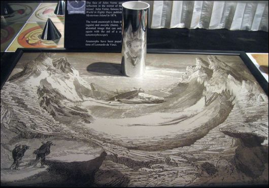 Anamorphic Artworks Only Seen With A Mirror Cylinder