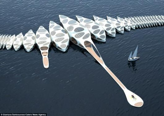 Amazing Spine Shaped Luxurious Floating Hotel Concept