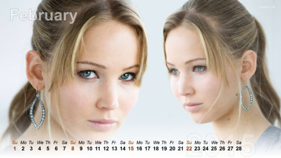 Beautiful Jennifer Lawrence Calendar 2015