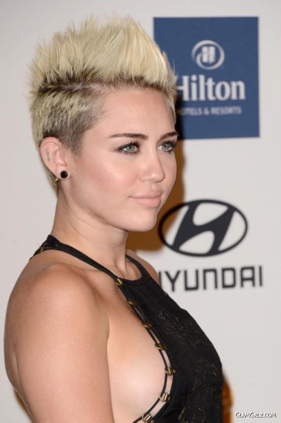 Miley Cyrus At Clive Davis Pre Grammy Gala